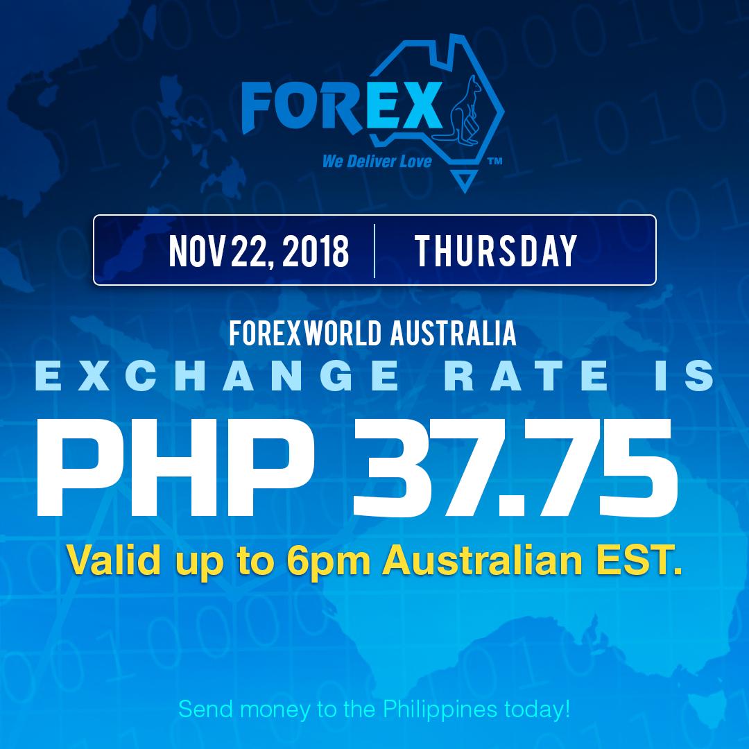 Australian Dollar Philippines Peso exchange rate November 22, 2018