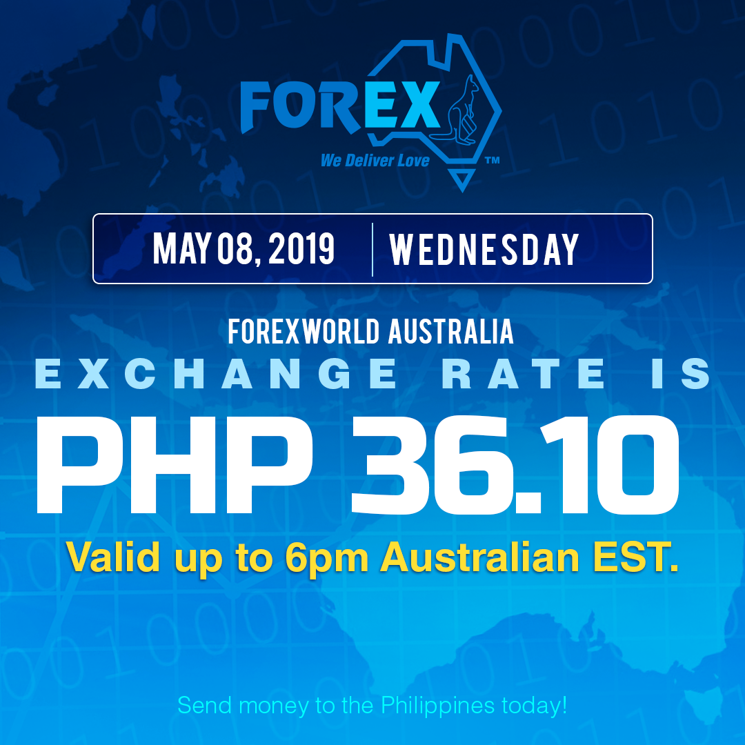Australian Dollar Philippines Peso exchange rate May 8, 2019