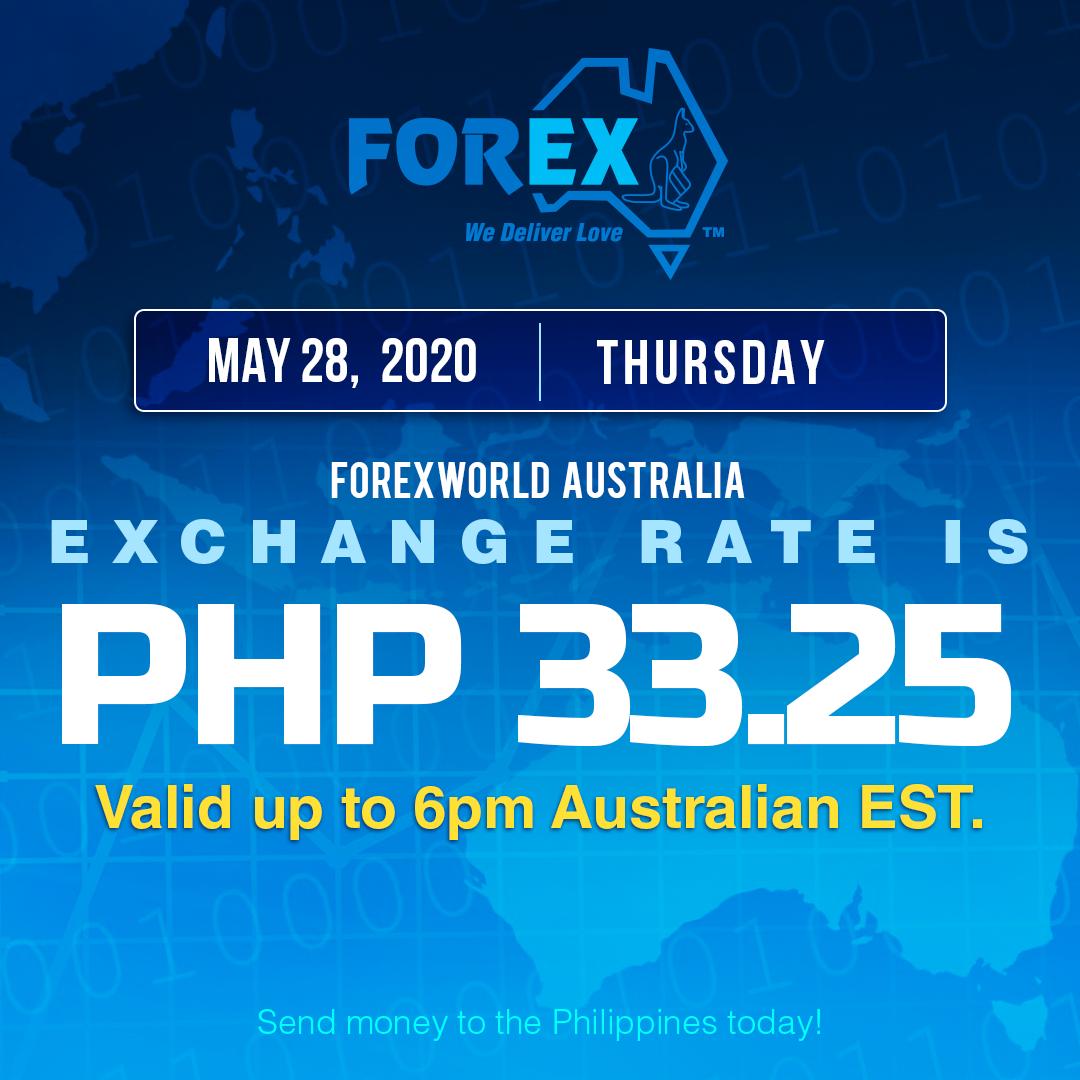 Australian Dollar Philippines Peso exchange rate May 28, 2020