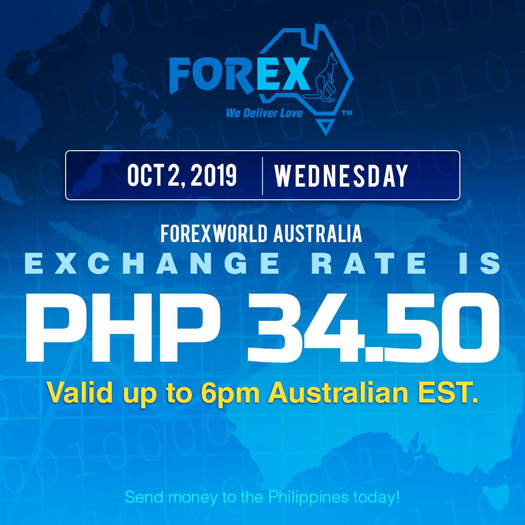 Australian Dollar Philippines Peso exchange rate October 2, 2019