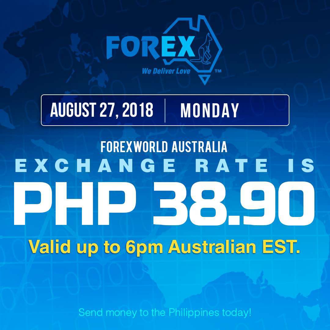 Australian Dollar Philippines Peso exchange rate August 27, 2018
