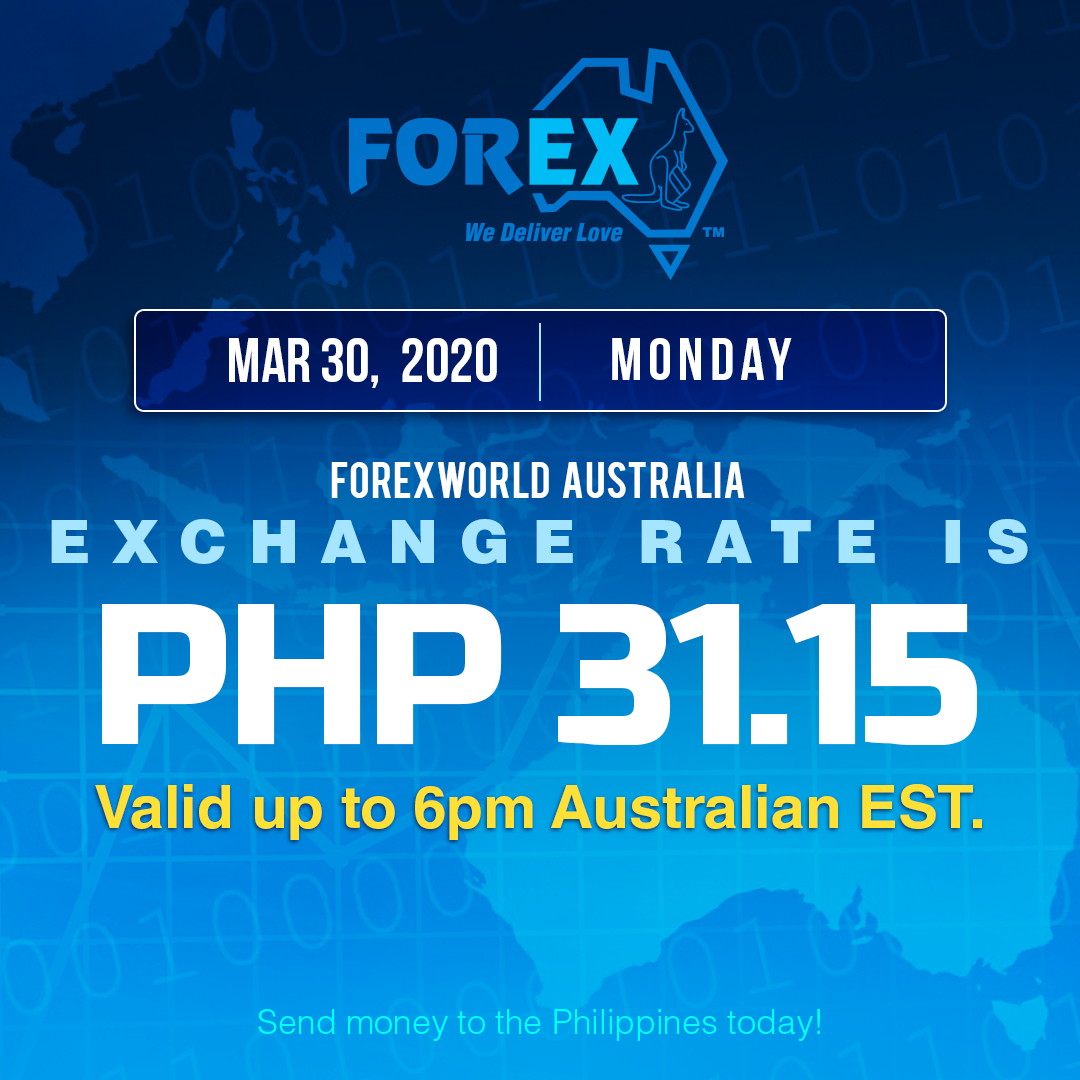 Australian Dollar Philippines Peso exchange rate March 30, 2020