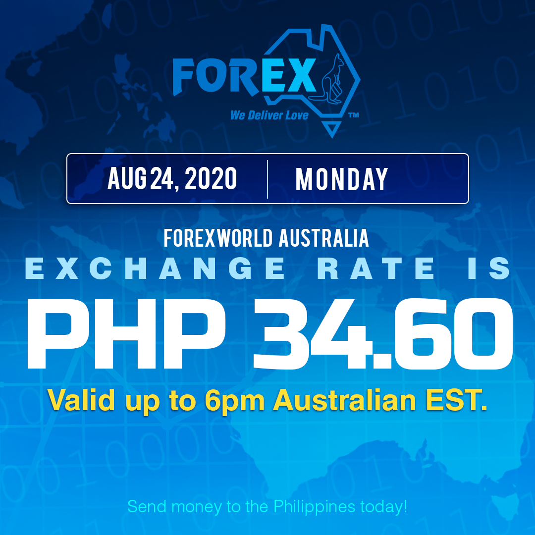 Australian Dollar Philippines Peso exchange rate August 24, 2020