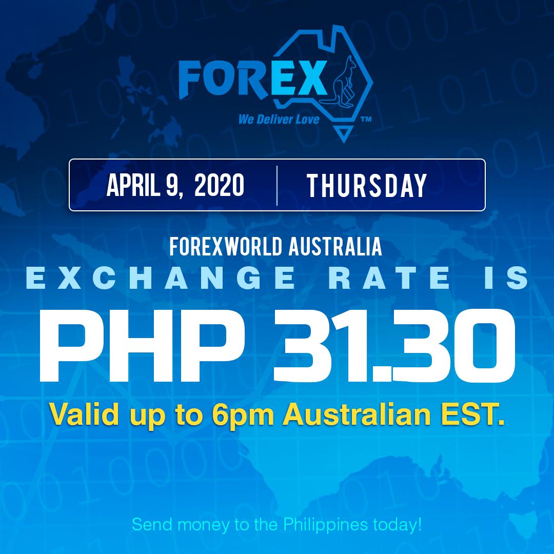 Australian Dollar Philippines Peso exchange rate April 9, 2020