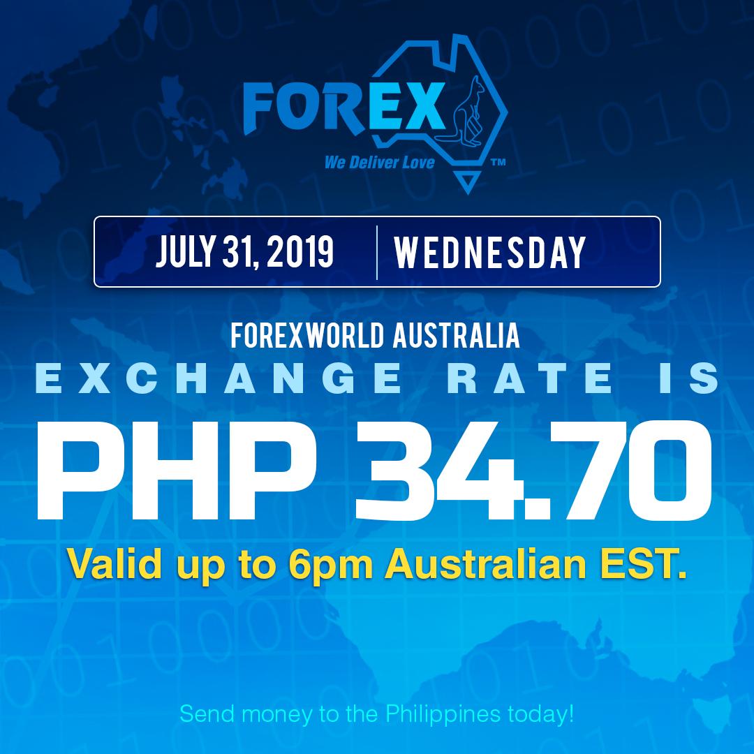 Australian Dollar Philippines Peso exchange rate July 31, 2019