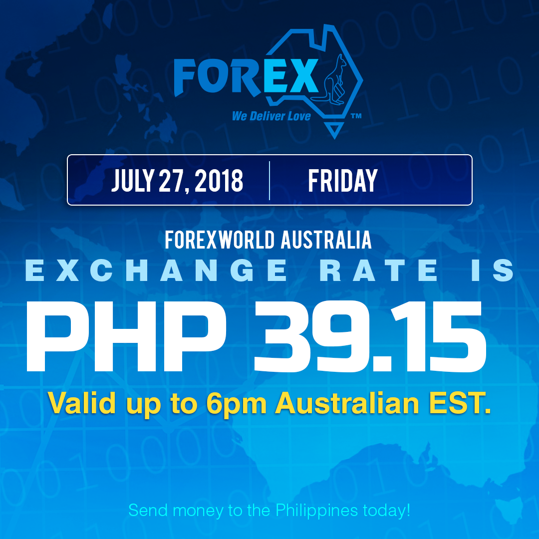 Australian Dollar Philippines Peso exchange rate July 27, 2018