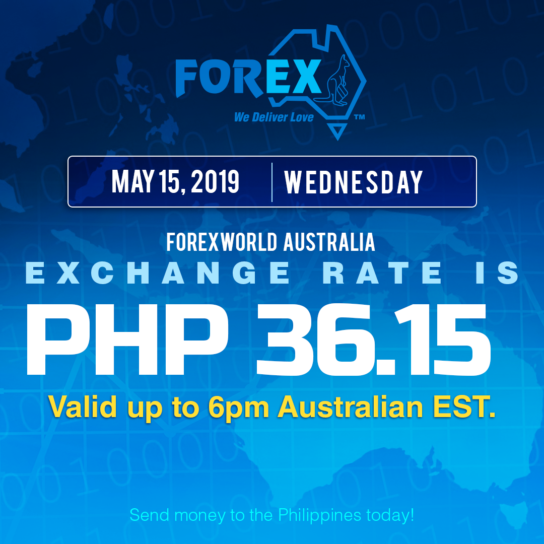 Australian Dollar Philippines Peso exchange rate May 15, 2019