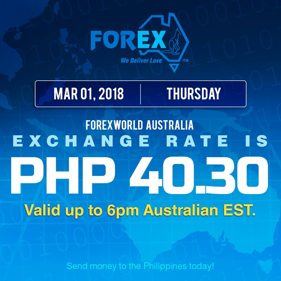Australian Dollar Philippines Peso exchange rate March 1, 2018