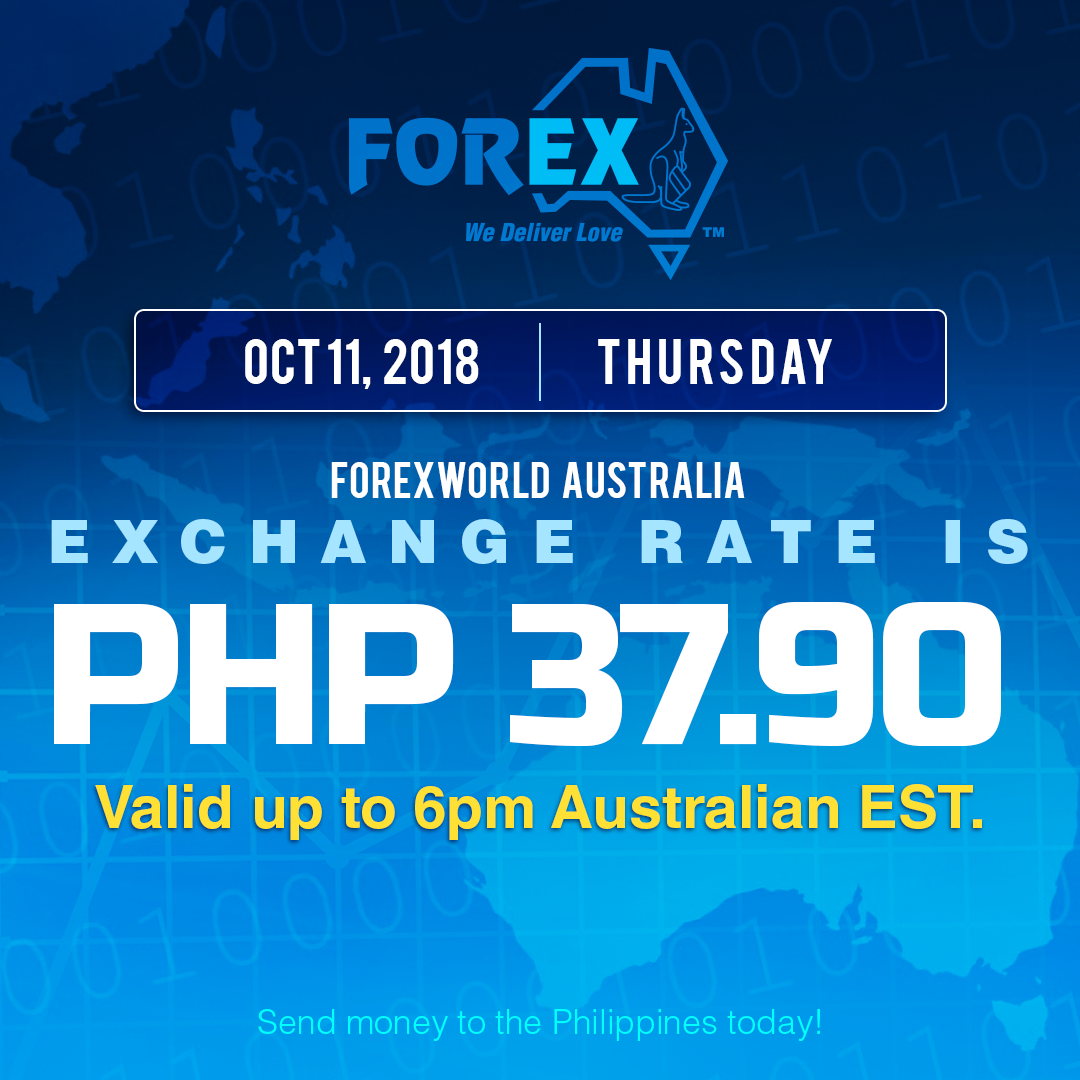 Australian Dollar Philippines Peso exchange rate October 11, 2018