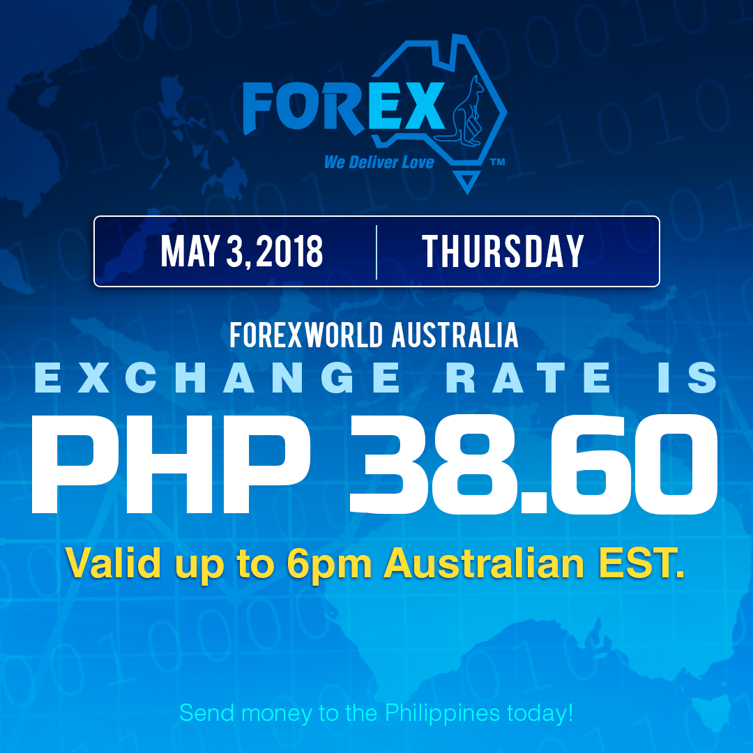 Australian Dollar Philippines Peso exchange rate May 3, 2018