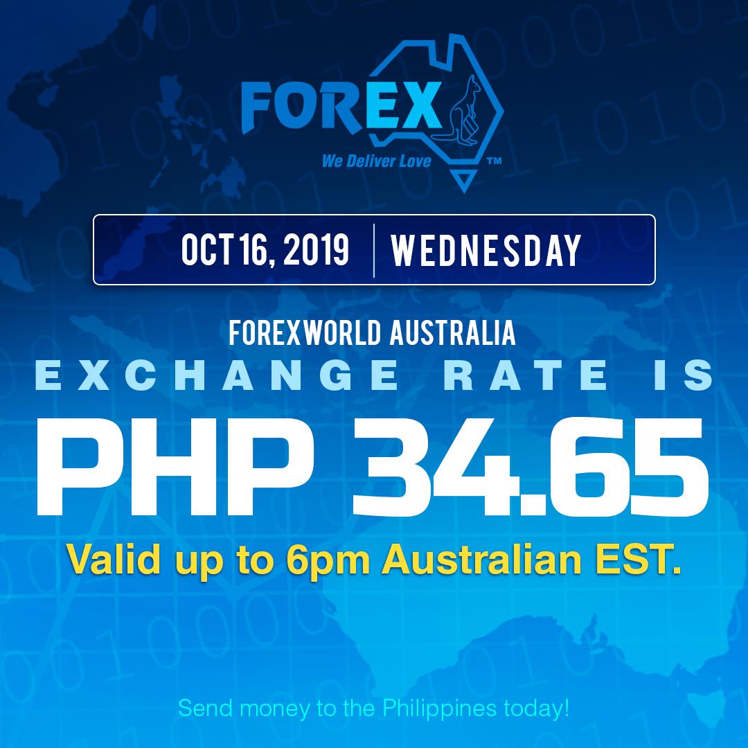 Australian Dollar Philippines Peso exchange rate October 16, 2019