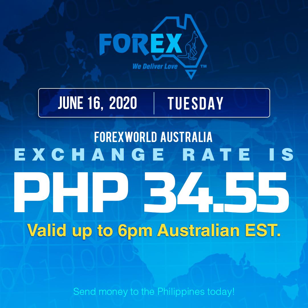 Australian Dollar Philippines Peso exchange rate June 16, 2020