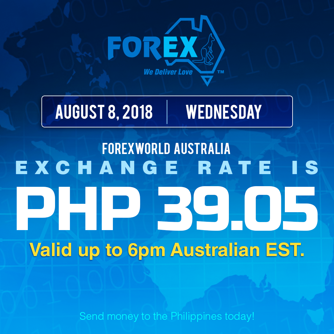 Australian Dollar Philippines Peso exchange rate August 8, 2018