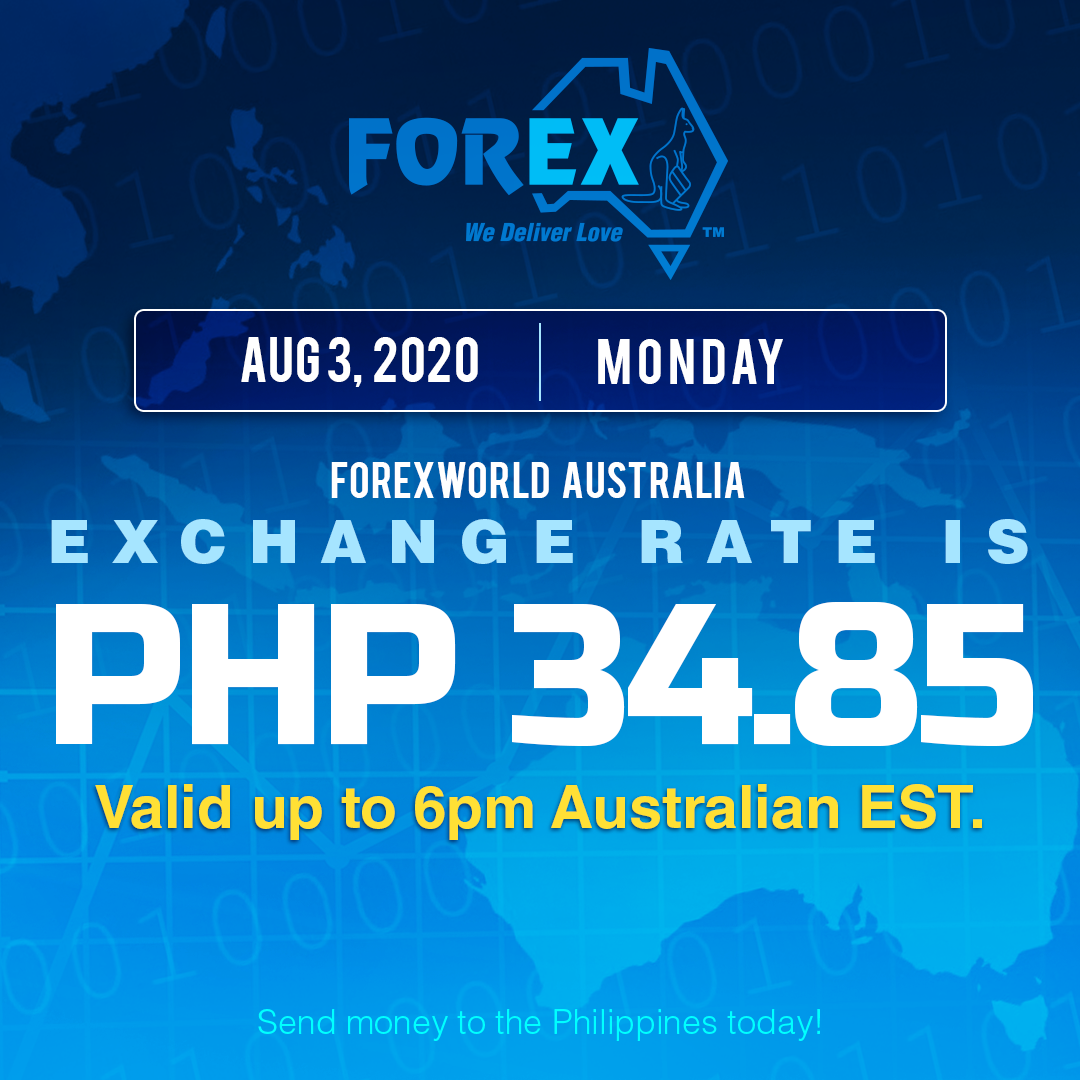 Australian Dollar Philippines Peso exchange rate August 3, 2020