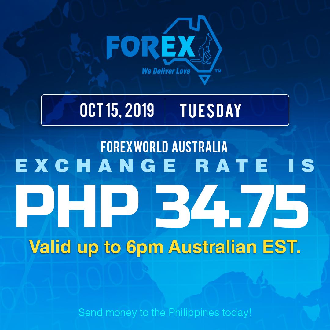 Australian Dollar Philippines Peso exchange rate October 15, 2019