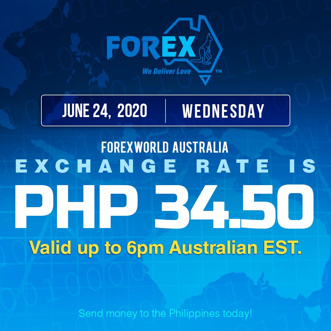 Australian Dollar Philippines Peso exchange rate June 24, 2020