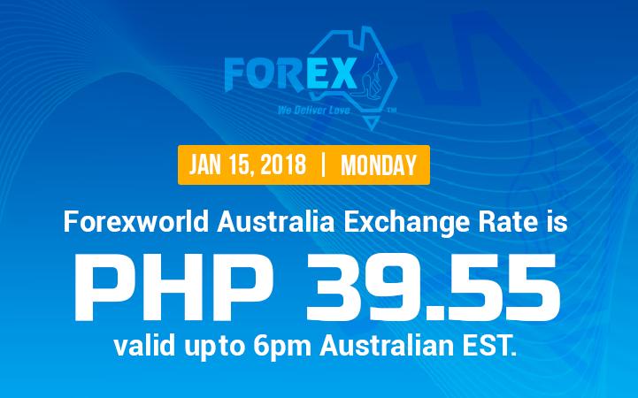 Australian Dollar Philippines Peso exchange rate January 15, 2018