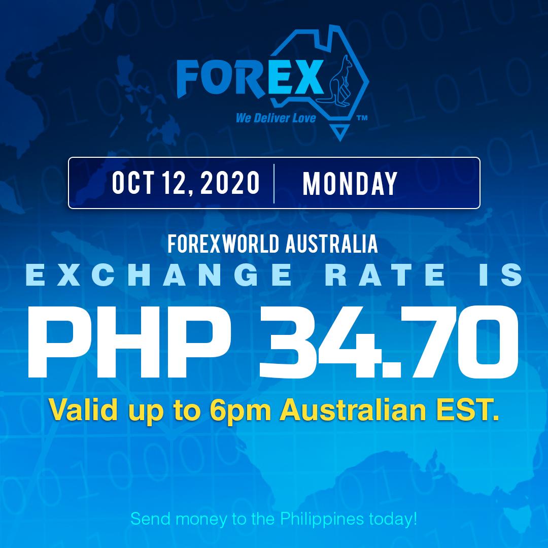 Australian Dollar Philippines Peso exchange rate October 12, 2020