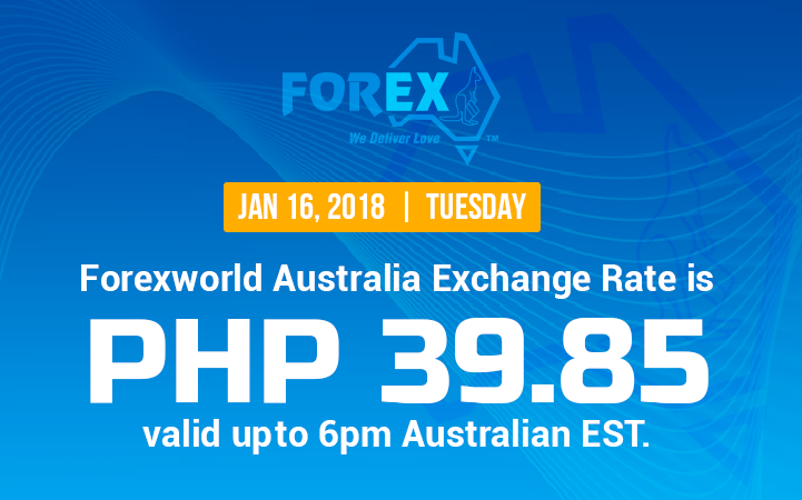 Australian Dollar Philippines Peso exchange rate January 16, 2018