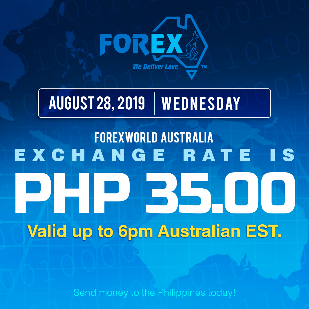 Australian Dollar Philippines Peso exchange rate August 28, 2019
