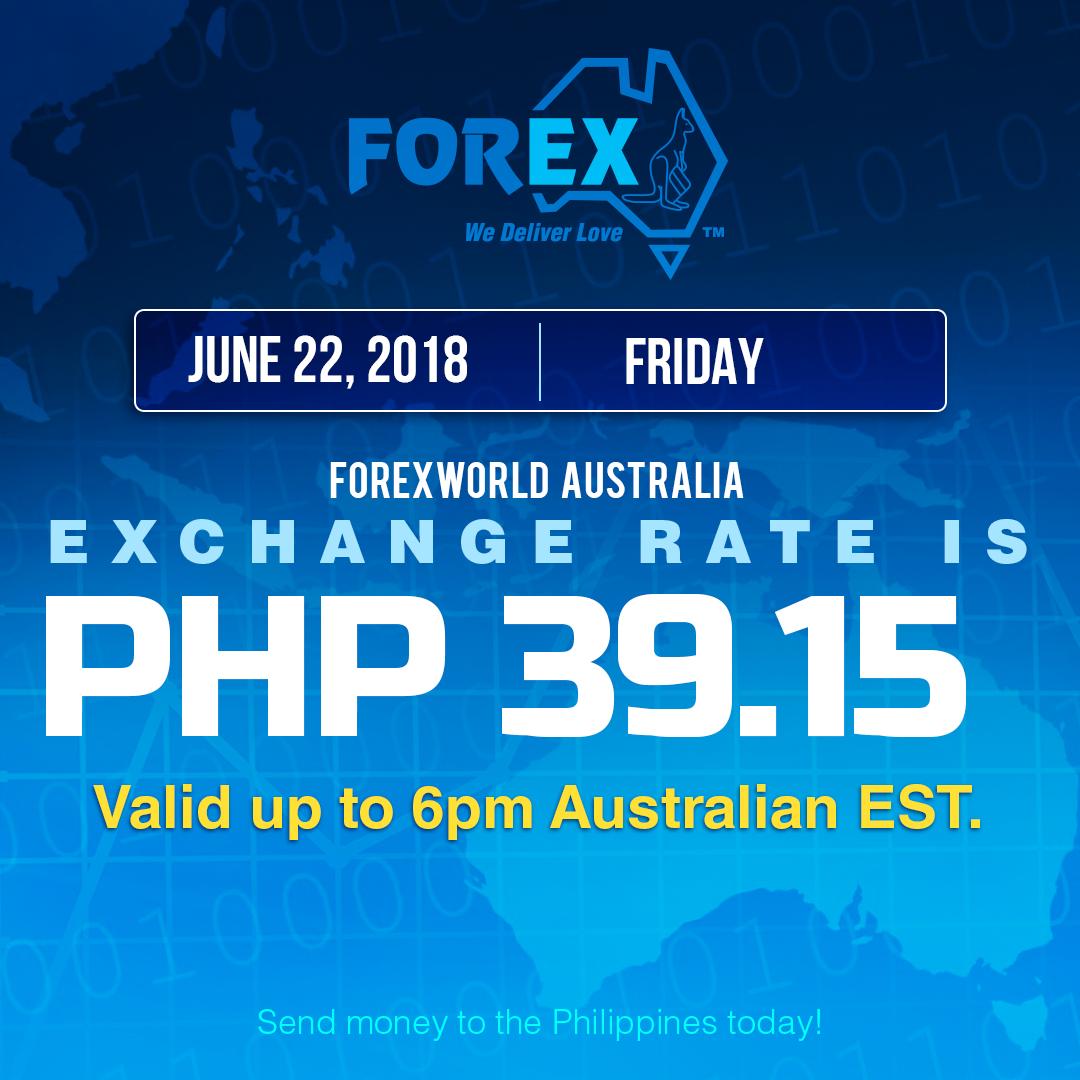 Australian Dollar Philippines Peso exchange rate June 22, 2018