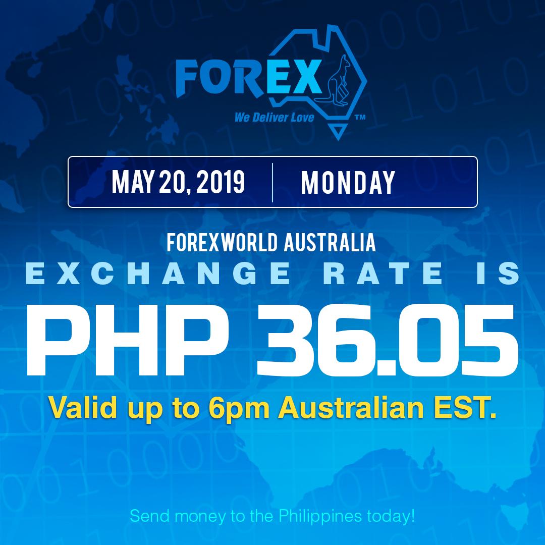 Australian Dollar Philippines Peso exchange rate May 20, 2019