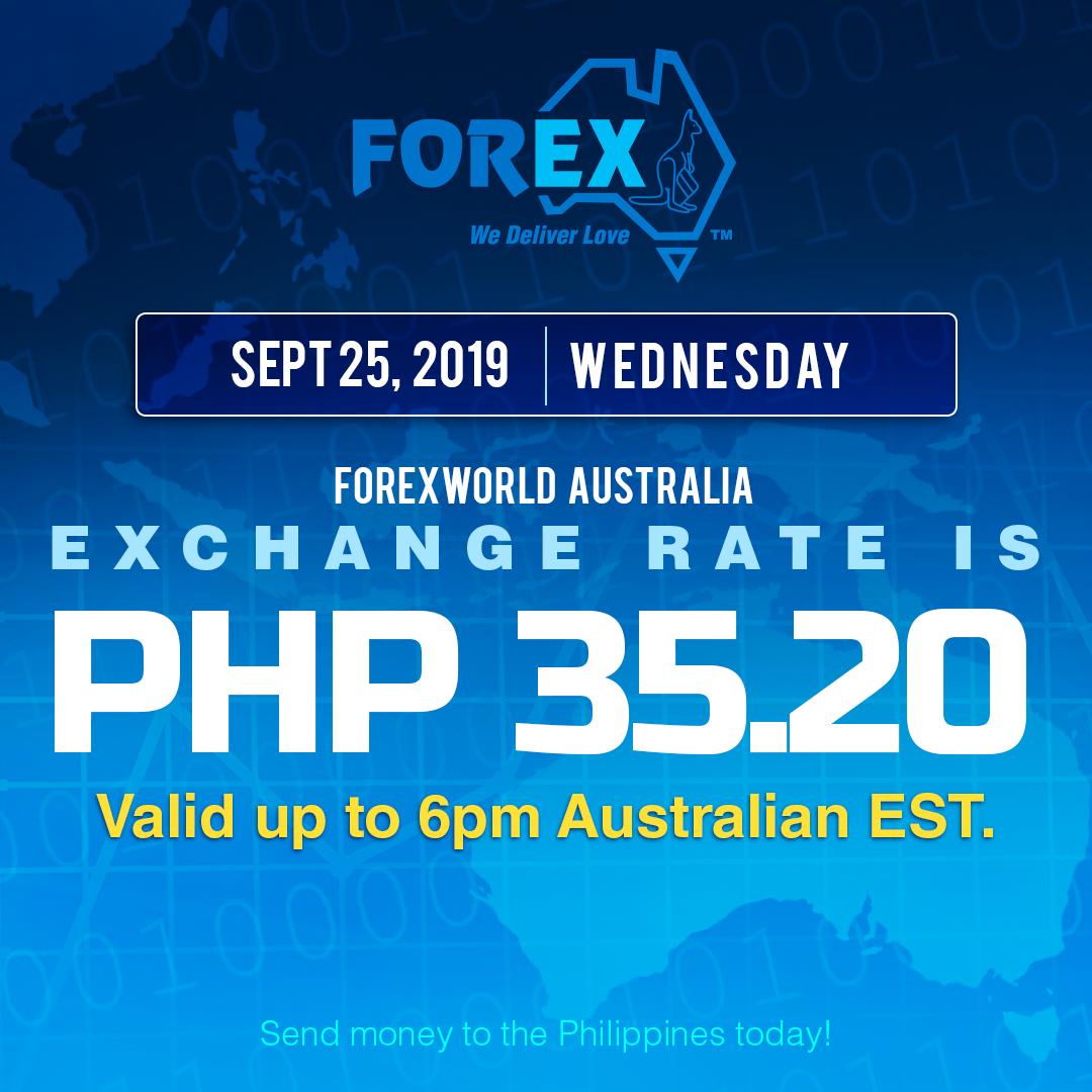 Australian Dollar Philippines Peso exchange rate September 25, 2019