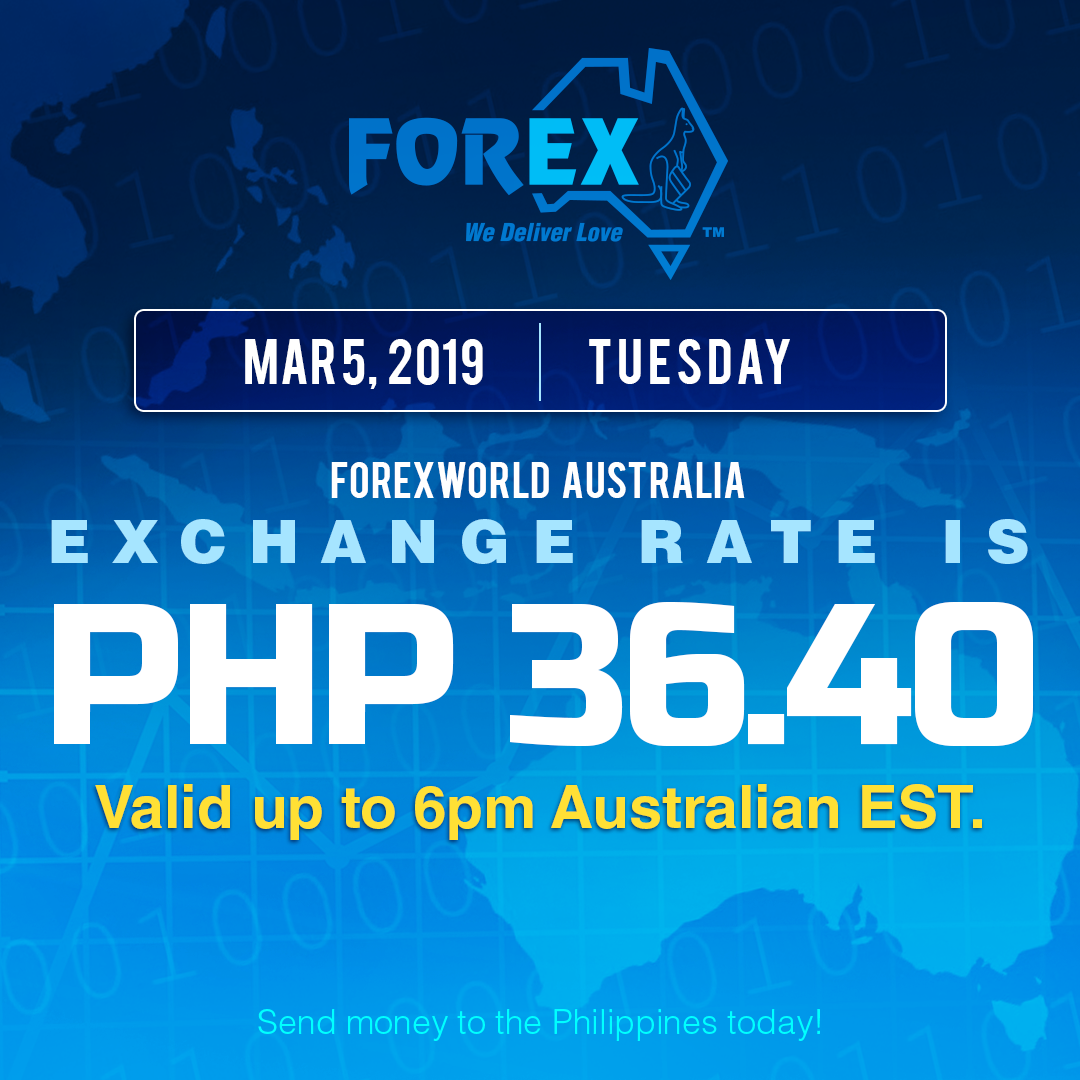Australian Dollar Philippines Peso exchange rate March 5, 2019