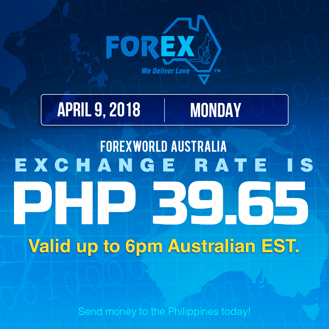 Australian Dollar Philippines Peso exchange rate April 9, 2018
