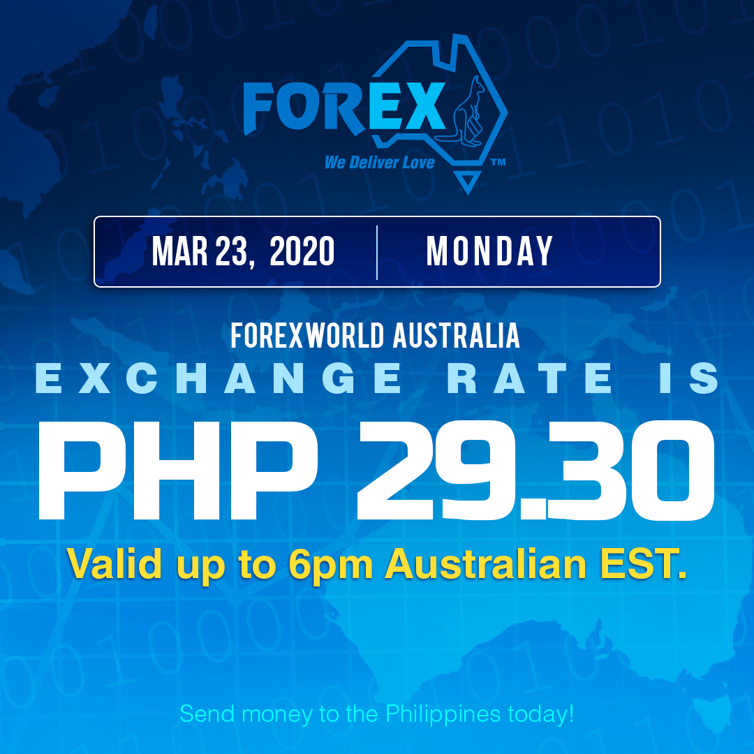 Australian Dollar Philippines Peso exchange rate March 23, 2020