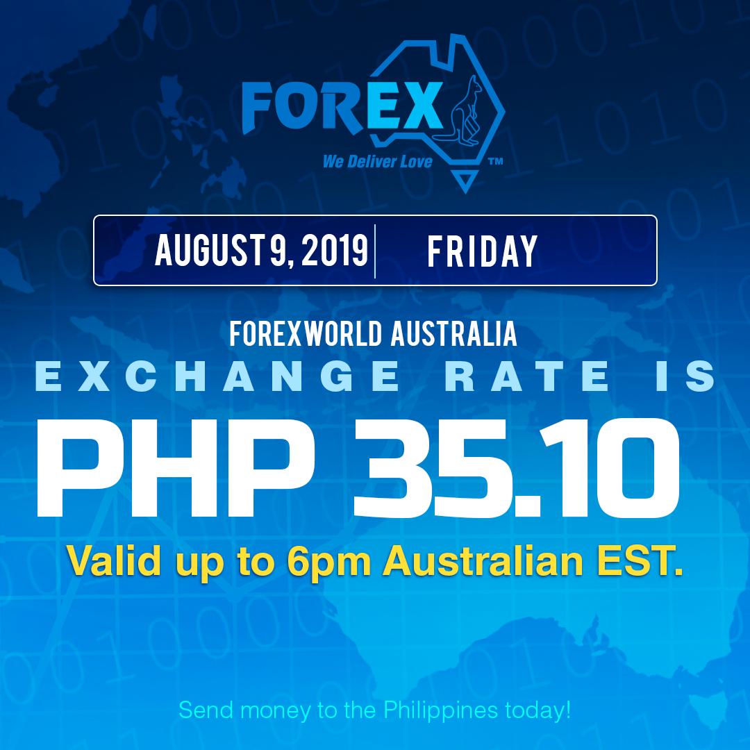 Australian Dollar Philippines Peso exchange rate August 9, 2019