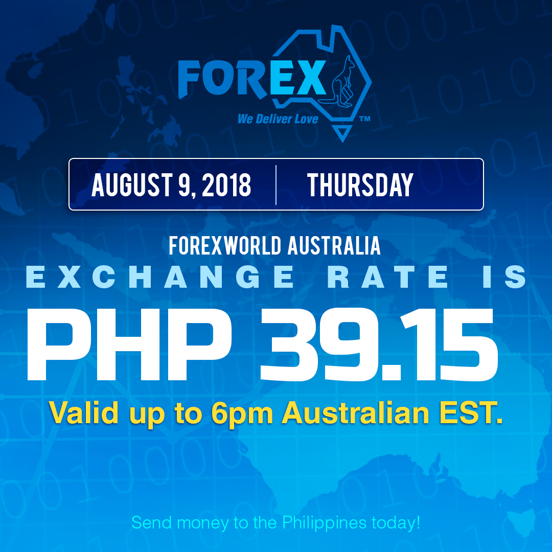 Australian Dollar Philippines Peso exchange rate August 9, 2018