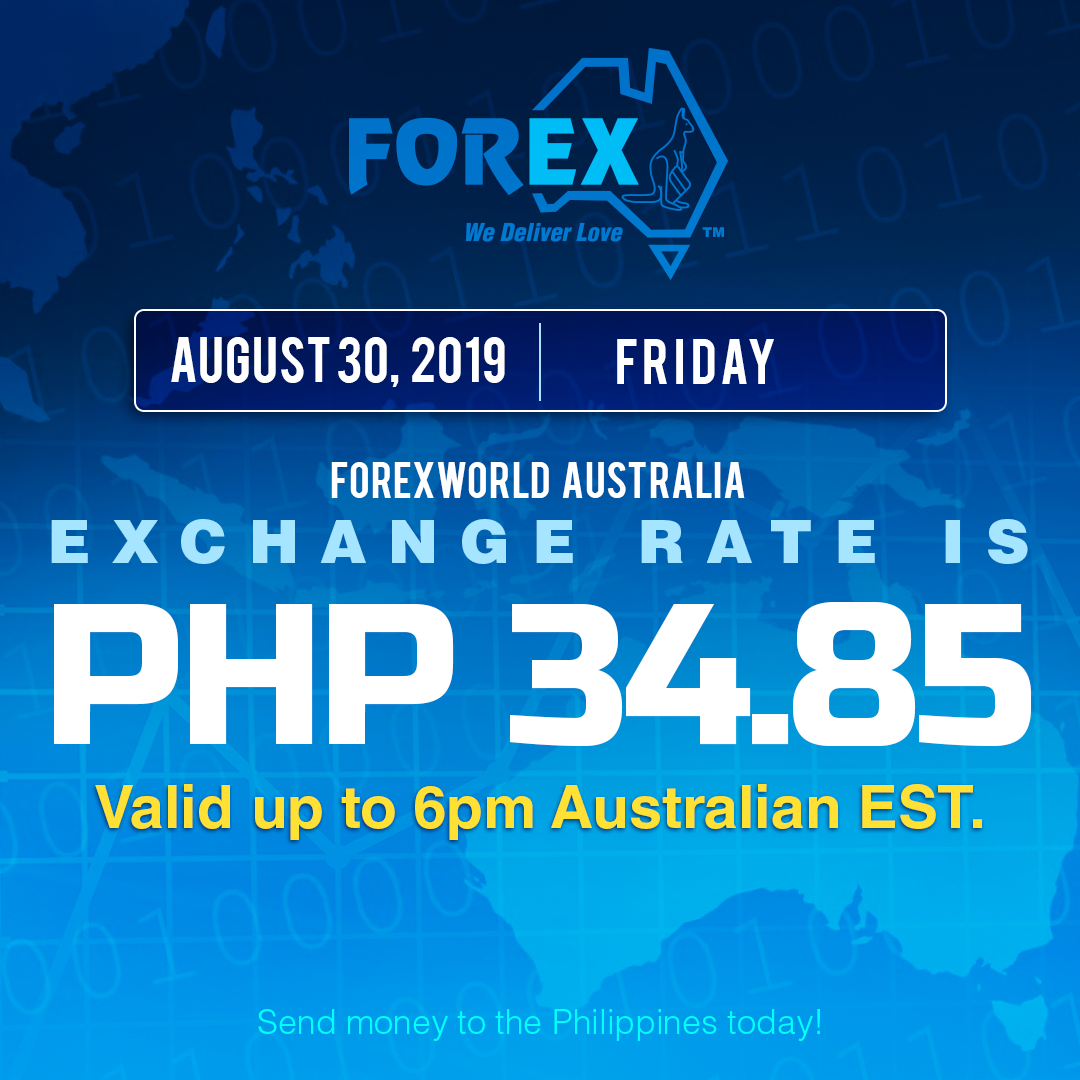 Australian Dollar Philippines Peso exchange rate August 30, 2019