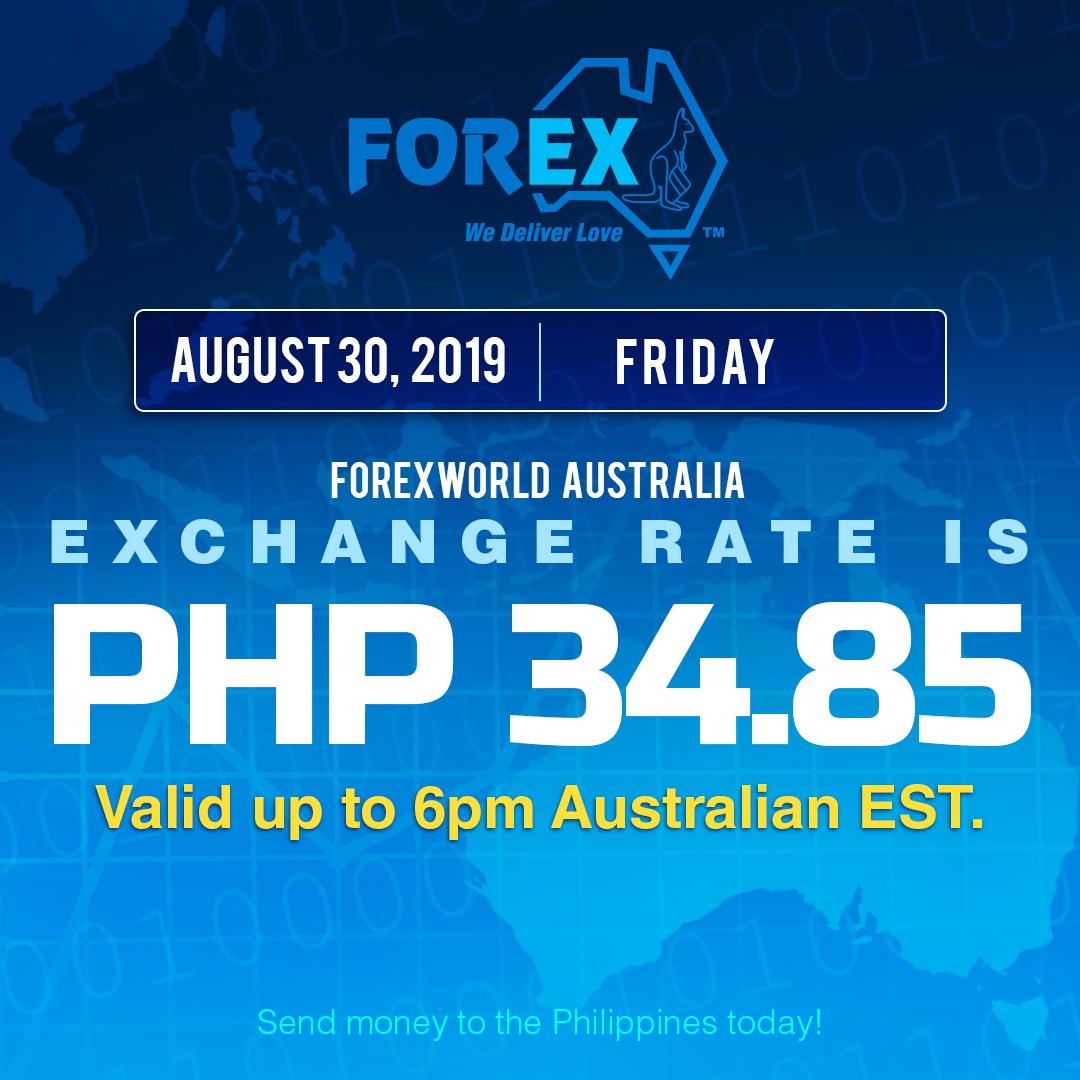 Australian Dollar Philippines Peso exchange rate August 30, 2019