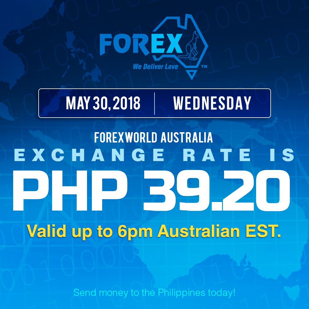 Australian Dollar Philippines Peso exchange rate May 30, 2018