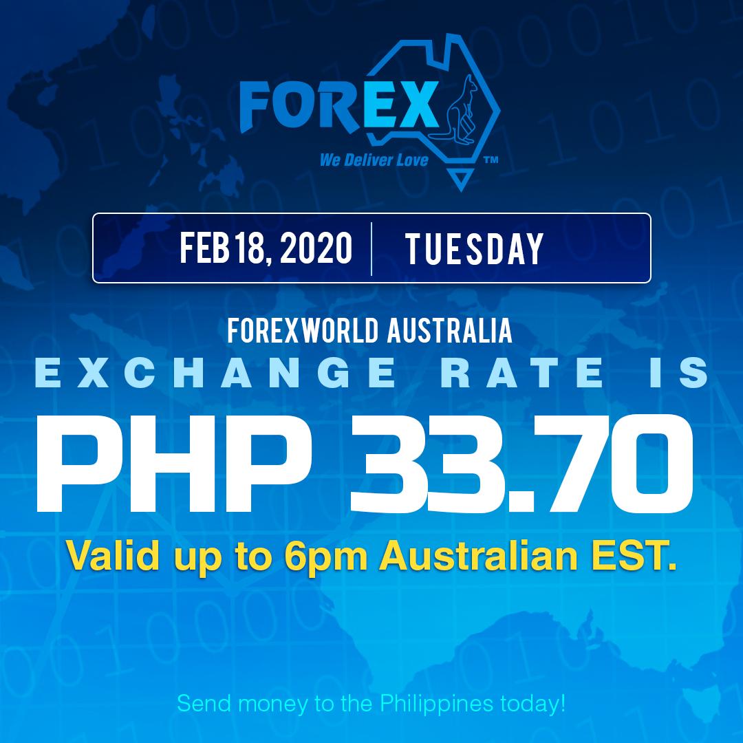 Australian Dollar Philippines Peso exchange rate February 18, 2020