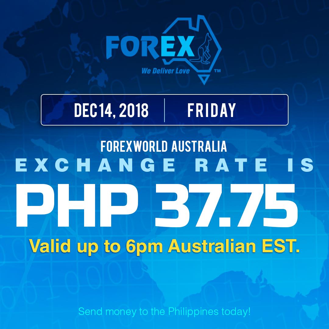 Australian Dollar Philippines Peso exchange rate December 14, 2018