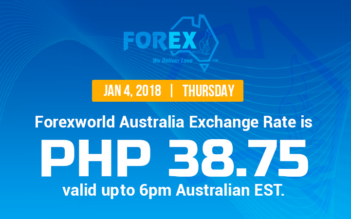 Australian Dollar Philippines Peso exchange rate January 4, 2018