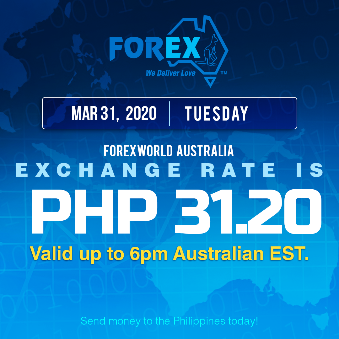 Australian Dollar Philippines Peso exchange rate March 31, 2020