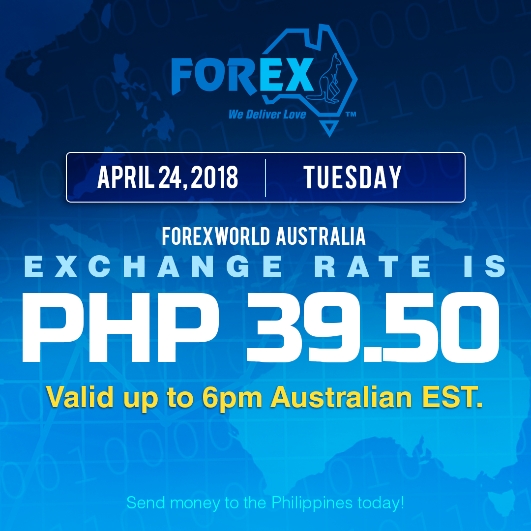 Australian Dollar Philippines Peso exchange rate April 24, 2018