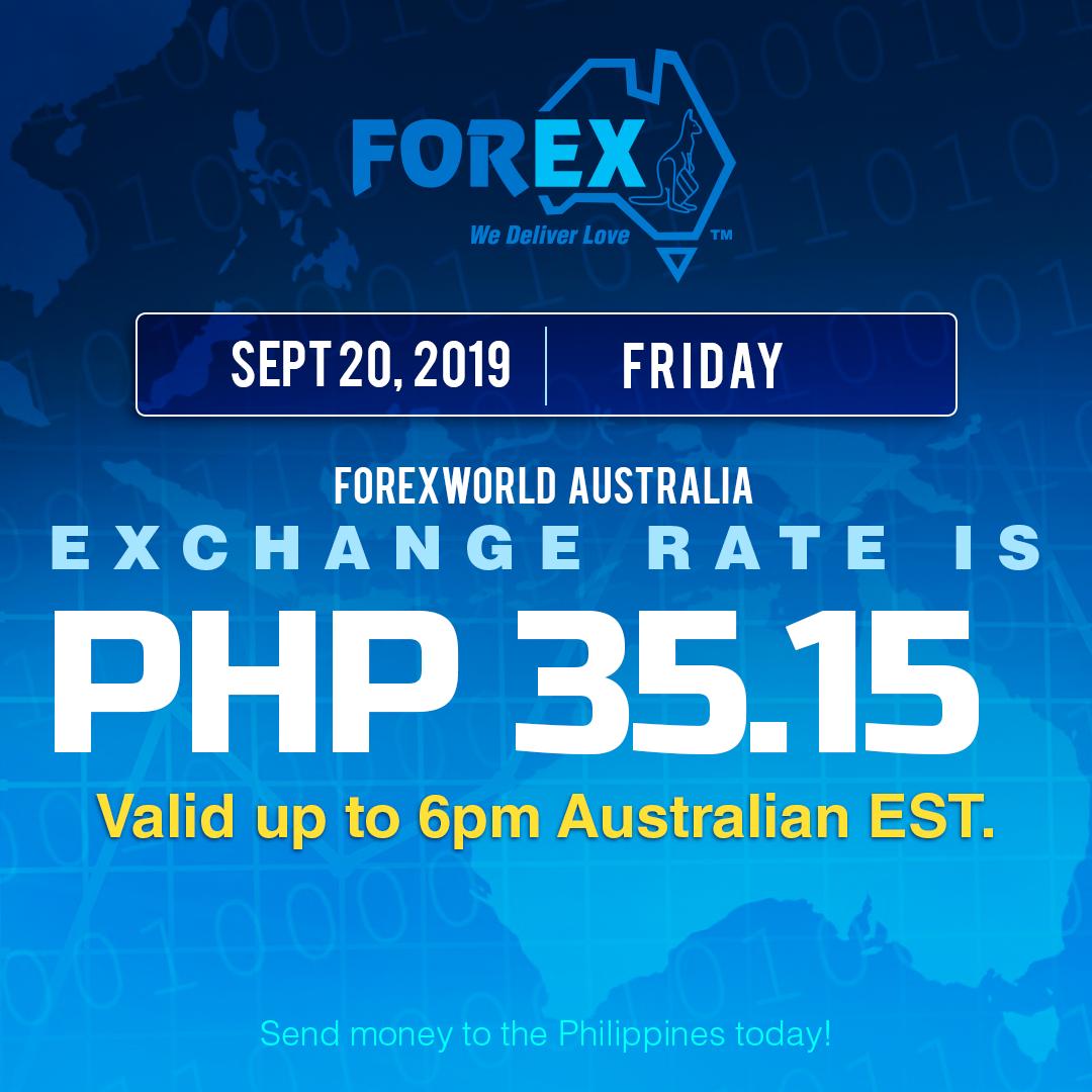 Australian Dollar Philippines Peso exchange rate September 20, 2019