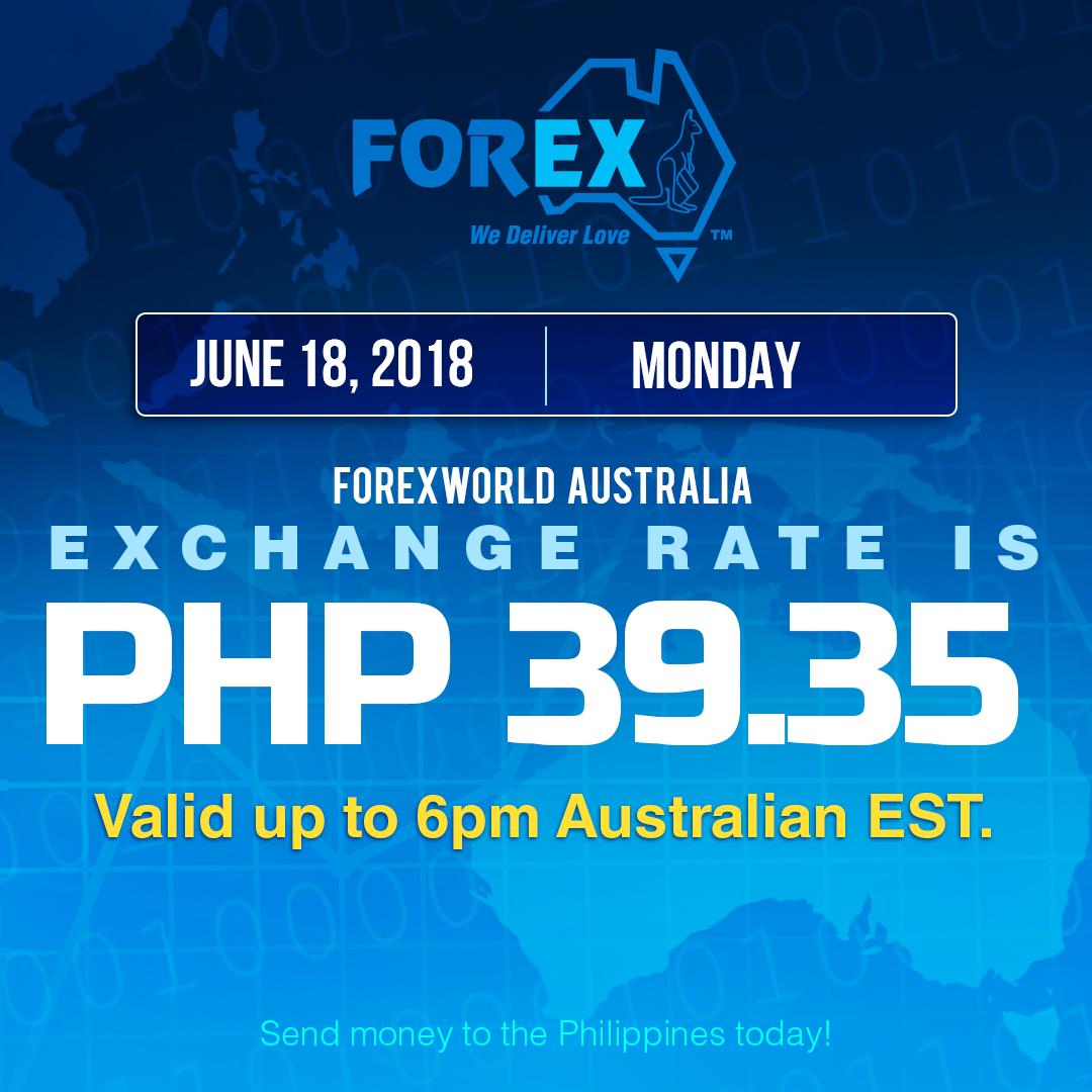 Australian Dollar Philippines Peso exchange rate June 18, 2018
