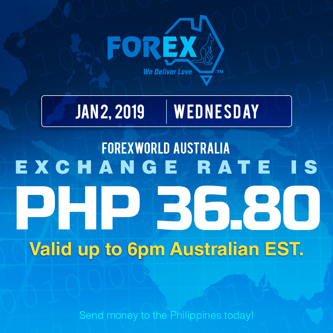 Australian Dollar Philippines Peso exchange rate January 2, 2019