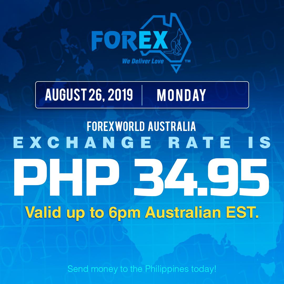 Australian Dollar Philippines Peso exchange rate August 26, 2019