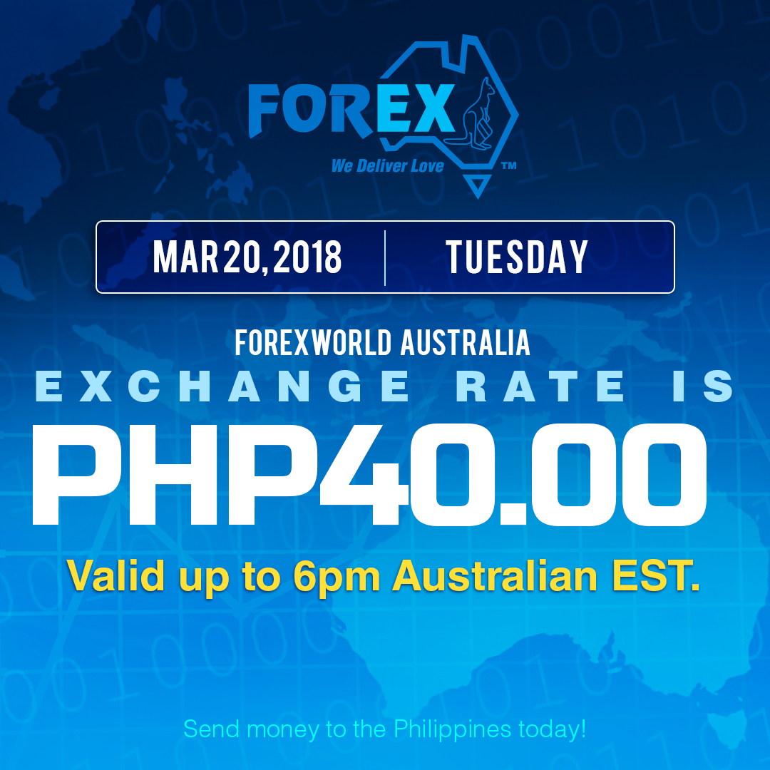 Australian Dollar Philippines Peso exchange rate March 20, 2018
