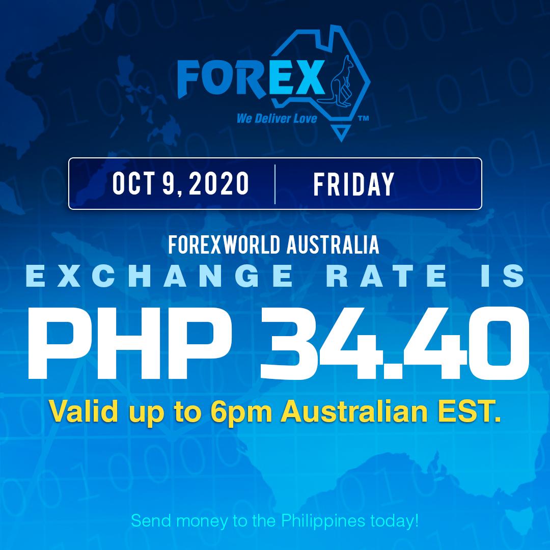 Australian Dollar Philippines Peso exchange rate October 9, 2020