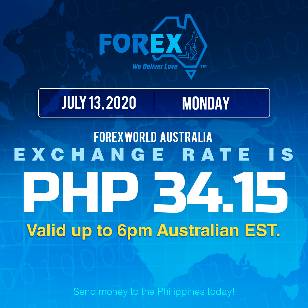 Australian Dollar Philippines Peso exchange rate July 13, 2020