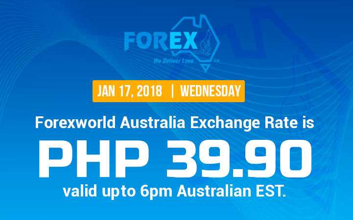 Australian Dollar Philippines Peso exchange rate January 17, 2018