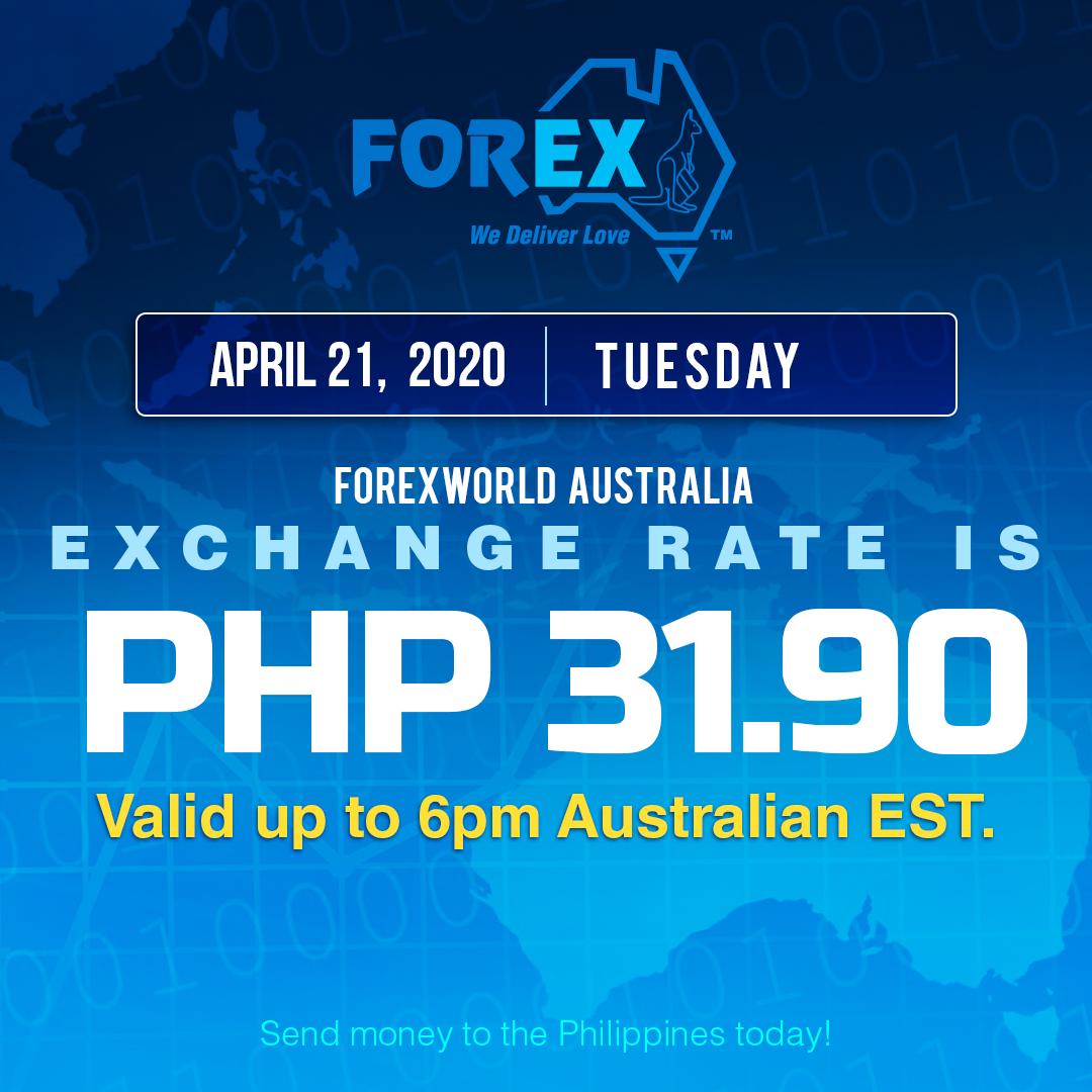 Australian Dollar Philippines Peso exchange rate April 21, 2020