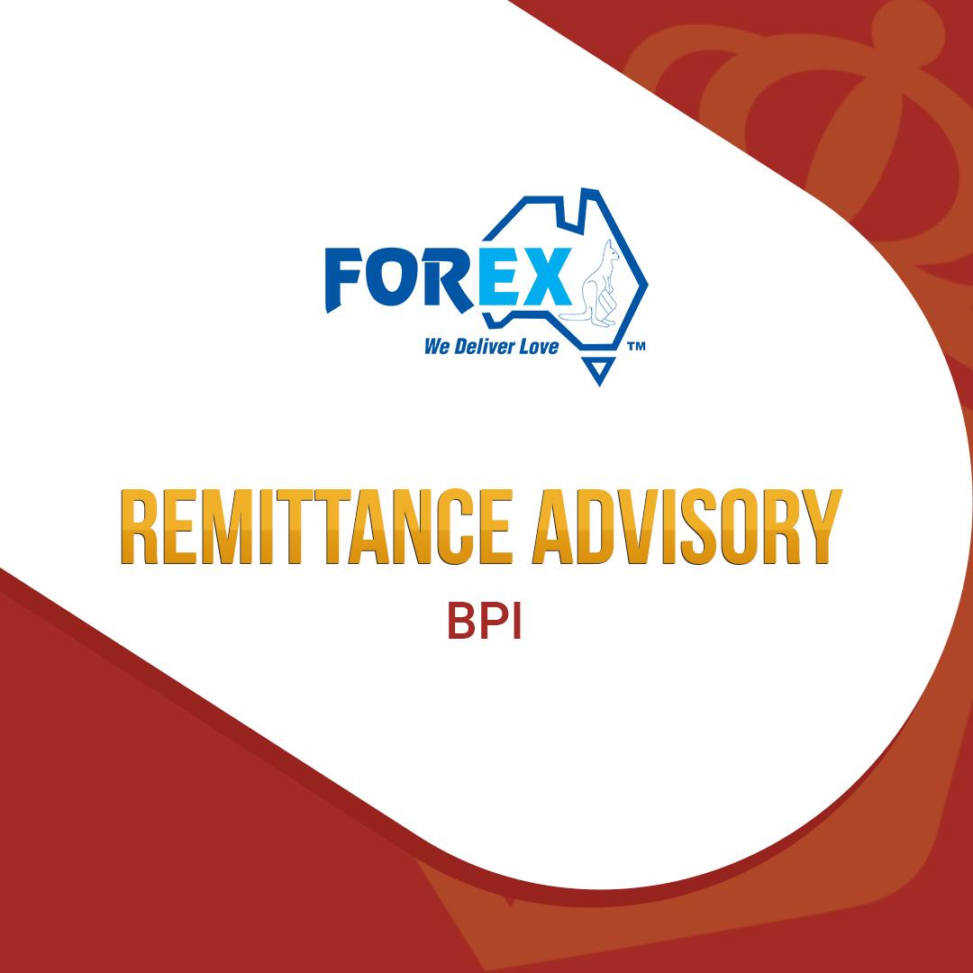 Remittance Advisory - BPI, BPI Family Savings Bank